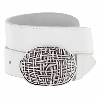 100552 Antique Silver Mesh Casual Jean Genuine Leather Belt