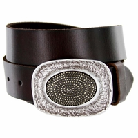100554 Oval Trench Pattern Belt Buckle Casual Jean Leather Belt