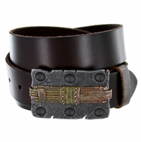 100558 Engraved Buckle Casual Jean Genuine Leather Belt