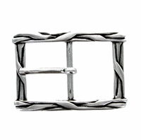100559-35 Silver Weave Antique Engraved Belt Buckle Made In Italy Belt Buckle