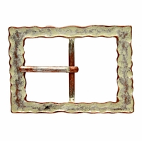 100566 Copper White Rectangular Center Bar Belt Buckle