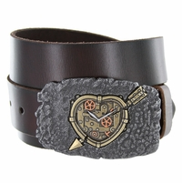 100572 Arrow Heart Clock Casual Jean Genuine Leather Belt