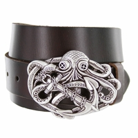 100575 Octopus Boat Anchor Buckle Casual Jean Genuine Leather Belt