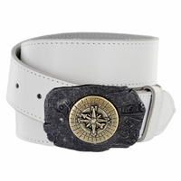100577 Compass Buckle Casual Jean Genuine Leather Belt