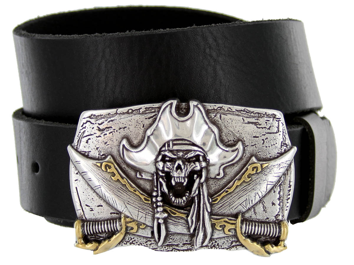 100584 pirate skull casual jean genuine leather belt