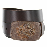 100587 Old Copper Octopus Boat Anchor Buckle Casual Jean Genuine Leather Belt