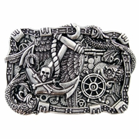 Boat Anchor Rudder Skull Punk Belt Buckle