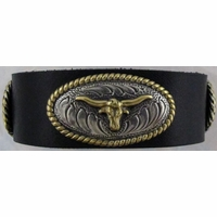1010 Black Full Grain Genuine Italian Saddle Leather Wristband with Braided Conchos