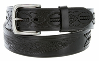 10223 Men's Eagle Embossed Braided Genuine Leather Casual Jean Belt-Black