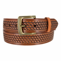 "10309 Boston Basketweave Men's Work Uniform Casual Belt 1 1/2"" Wide-Tan"