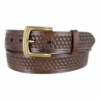 "10310 Boston Basketweave Men's Work Uniform Casual Belt 1 1/2"" Wide-Brown"