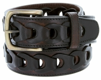 10541 Men's Braided Genuine Leather Casual Jean Belt-Brown