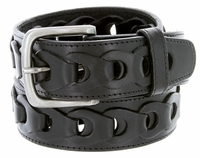 Men's Braided Genuine Leather Casual Jean Belt - Black