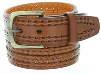 10561 Men's Fine Triple Braided Genuine Leather Casual Jean Belt-Tan