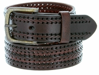 10563 Men's Fine Triple Braided Genuine Leather Casual Jean Belt-Brown