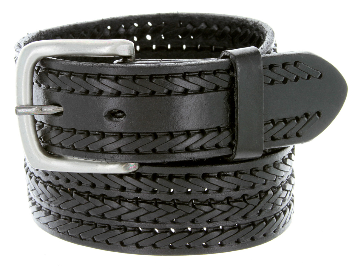 s braided genuine leather casual jean belt