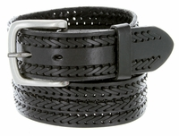 10564 Men's Fine Triple Braided Genuine Leather Casual Jean Belt-Black