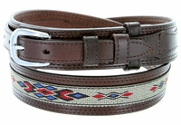 10568 Men's Genuine Leather with Cloth Ranger Belt-Brown