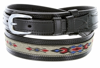 10569 Men's Genuine Leather with Cloth Ranger Belt-Black