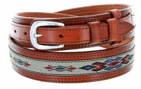 10570 Men's Genuine Leather with Cloth Ranger Belt-Tan