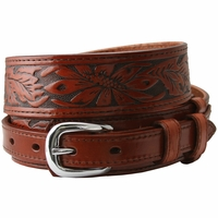 10578 Carson Tan Western Tooled Genuine Leather Casual Jean Ranger Belt