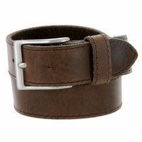 10699051 Made In Italy Men's Full Grain Leather Casual Jean Belt - Brown