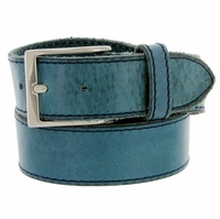 Made In Italy Men's Full Grain Leather Casual Jean Belt - Navy