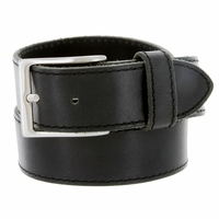 "10699051 Men's One Piece Full Leather Casual Jean Belt 1-1/2"" wide - Black"