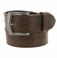 """3926051  Men's One Piece Full Leather Casual Jean Belt 1-1/2"""" wide - Brown"""