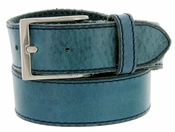 "10699051 Men's One Piece Full Leather Casual Jean Belt 1-1/2"" wide - Blue"