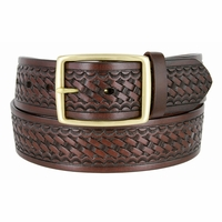 "10855 Reno Basketweave Men's Work Uniform Belt 1 3/4"" Wide - Brown"