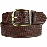 "10855 Reno Basketweave Men's Work Uniform Belt 1 3/4"" Wide-Brown"