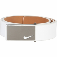 1118704 Nike Golf Tour Men's Sleek Modern Plaque Leather Belt White