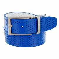 11188248 Nike Golf Tour Men's Perforated Reversible Leather Belt Military Blue/White