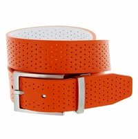 11188250 Nike Golf Tour Men's Perforated Reversible Leather Belt - Turf Orange/White