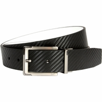 1118925 Nike Golf Tour Men's Carbon Fiber Textured Reversible Leather Belt Black/White