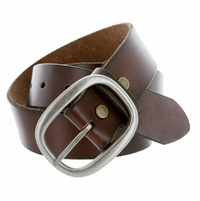 "1174 Men's One Piece Full Grain Leather Casual Jean Belt 1-1/2"" wide - Brown"
