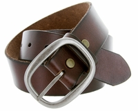 "1174 Men's One Piece Full Leather Casual Jean Belt 1-1/2"" wide - Brown"