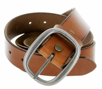 "1174 Men's One Piece Full Leather Casual Jean Belt 1-1/2"" wide - Tan"
