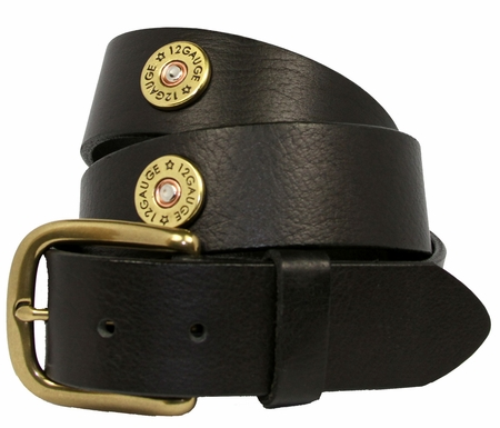 12 Gauge Shotgun Shell Full Grain Leather Belt-Black