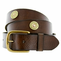 12 Gauge Shotgun Shell Full Grain Leather Belt - Dark Brown