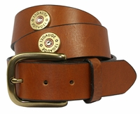 12 Gauge Shotgun Shell Full Grain Leather Belt -Tan