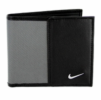 1688809 Nike Golf Sport Men's Leather Tech Twill Billfold Wallet Grey/Black