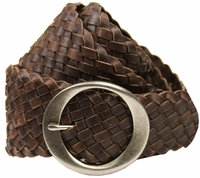 "1709 Basketweave Brown 2.5"" Wide Tapered 2"" Belt"