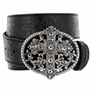 1777 Western Women Rhinestone Cross Buckle Embossed Genuine Leather Belt - Black