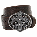 1777 Western Women Rhinestone Cross Buckle Embossed Genuine Leather Belt - Brown