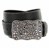 1778 Western Women Rhinestone Buckle Embossed Genuine Leather Belt - Black