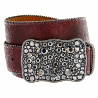 1778 Western Women Rhinestone Buckle Embossed Genuine Leather Belt - Wine