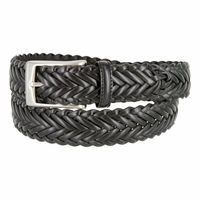 "20151 Men's Braided Leather Dress Belt 1-1/4"" Wide - Black"