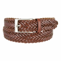 "20151 Men's Braided Leather Dress Belt 1-1/4"" Wide - Brown"